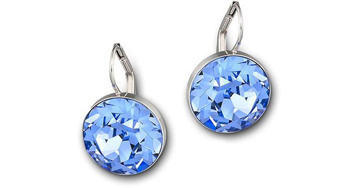 swarovski mini earrings swarovski mini drop earrings in blue lyst 8095
