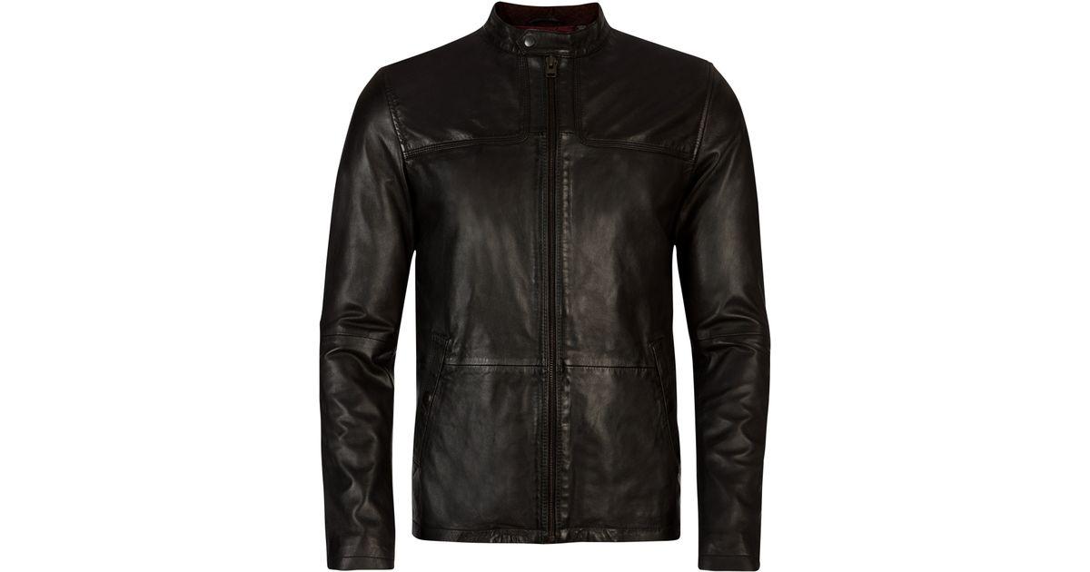 f59e010fa Ted Baker Birgin Leather Jacket Black - Cairoamani.com