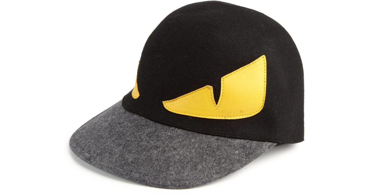 Lyst - Fendi Monster Wool Baseball Cap in Black for Men 2c50241cc6e