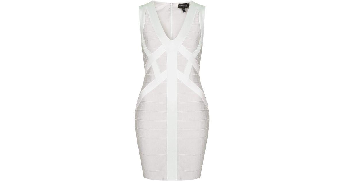 b3ead2b2a5c6 TOPSHOP Satin Bandage Bodycon Dress in White - Lyst