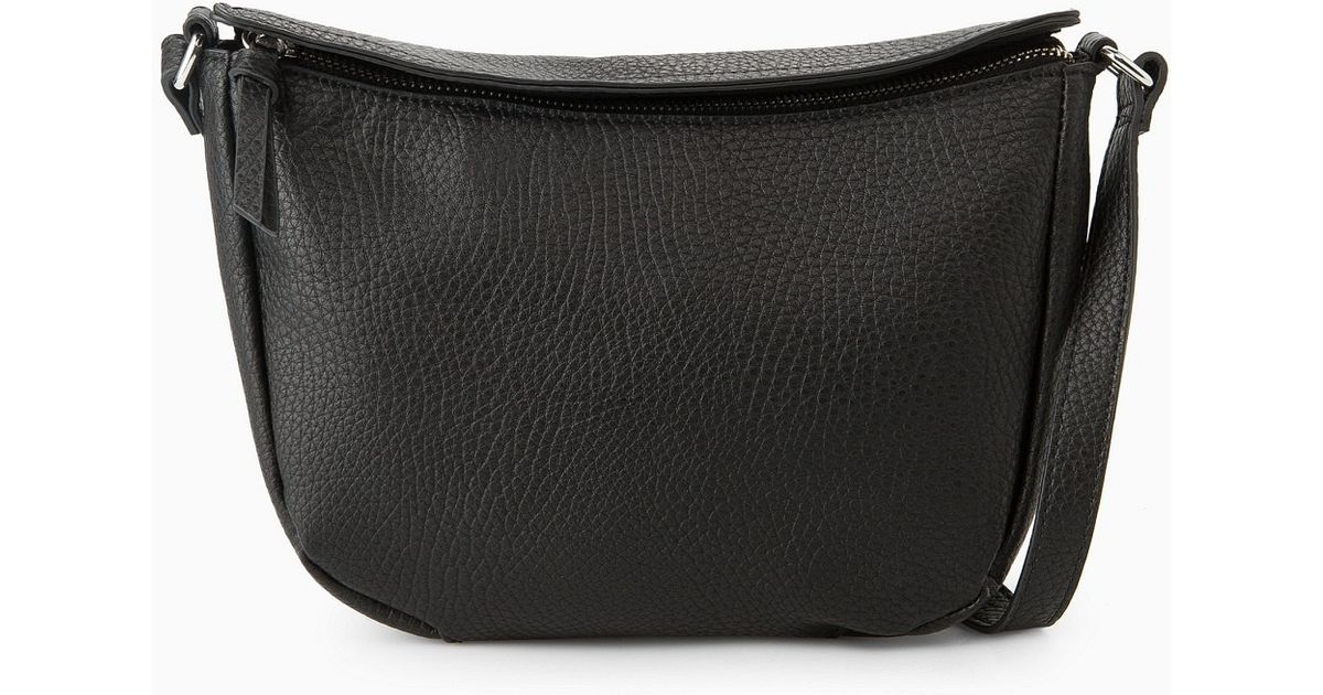 9f5142cf4a Mango - Black Pebbled Cross-Body Bag - Lyst