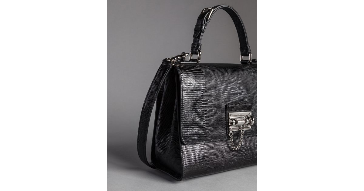 Lyst - Dolce   Gabbana Iguana Print Leather Monica Bag in Black d1714409cbd31