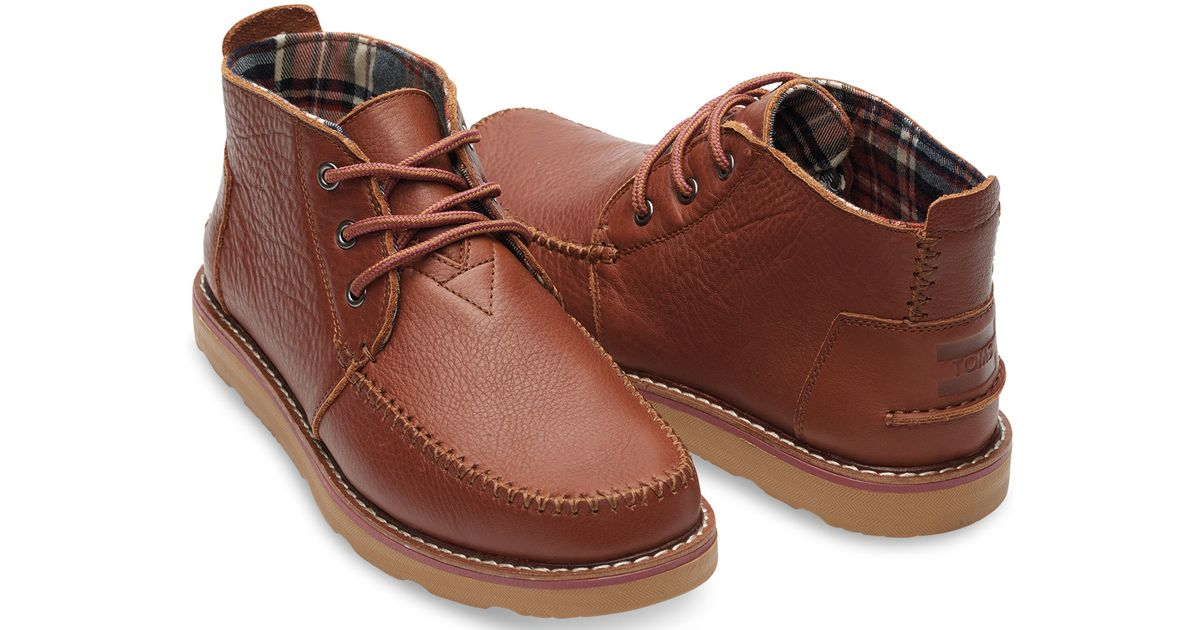 Lyst - TOMS Brown Full Grain Leather Men s Chukka Boots in Brown for Men 282fa30f8