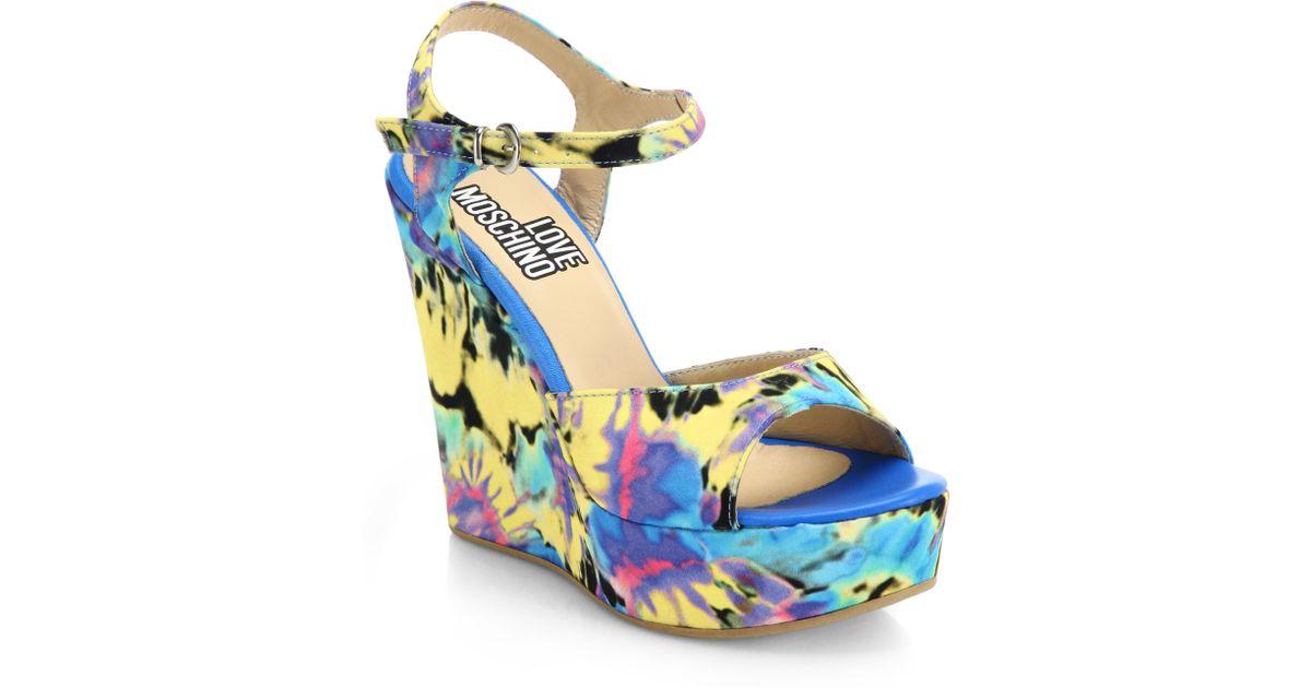 ed54ee66ad54 Lyst love moschino tie dye printed wedge sandals in blue jpg 1200x630 Tie  dye sandals