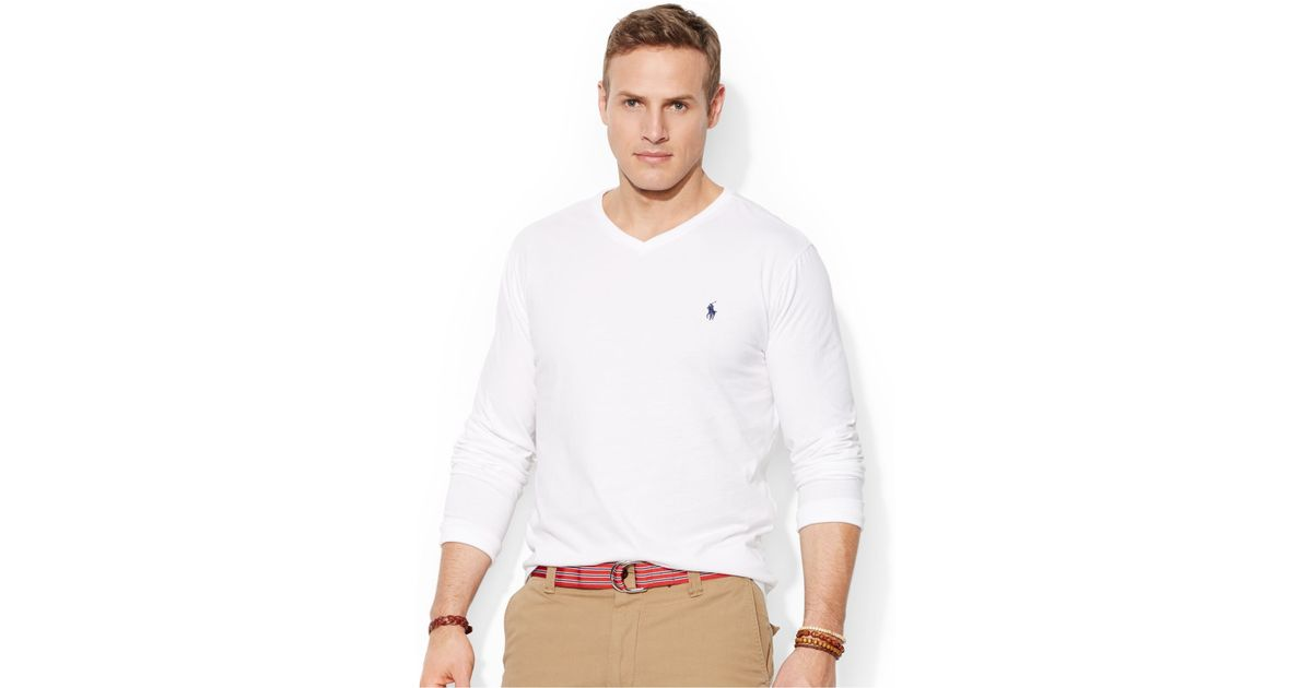 20408feb950a6 Lyst - Polo Ralph Lauren Big And Tall Long-Sleeve V-Neck T-Shirt in White  for Men