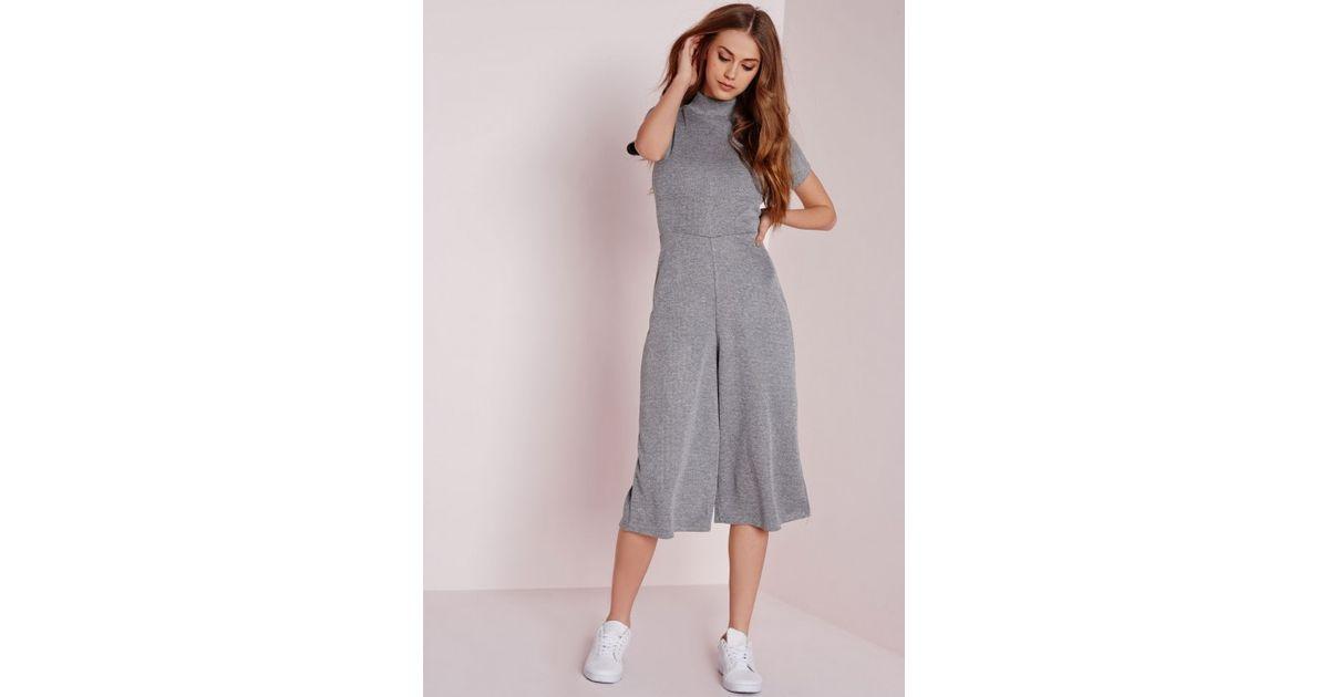 e90abd5b0745 Missguided - Gray High Neck T-shirt Culotte Jumpsuit Grey - Lyst