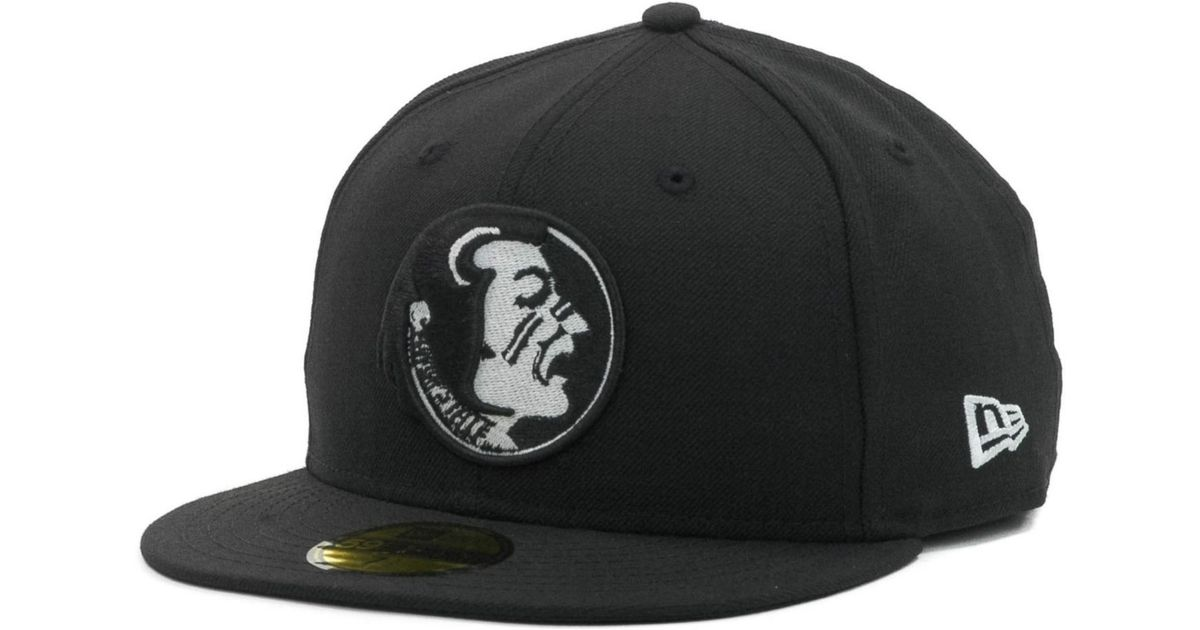 fe73008404616 ... czech lyst ktz florida state seminoles ncaa black on black with white  59fifty cap in black ...