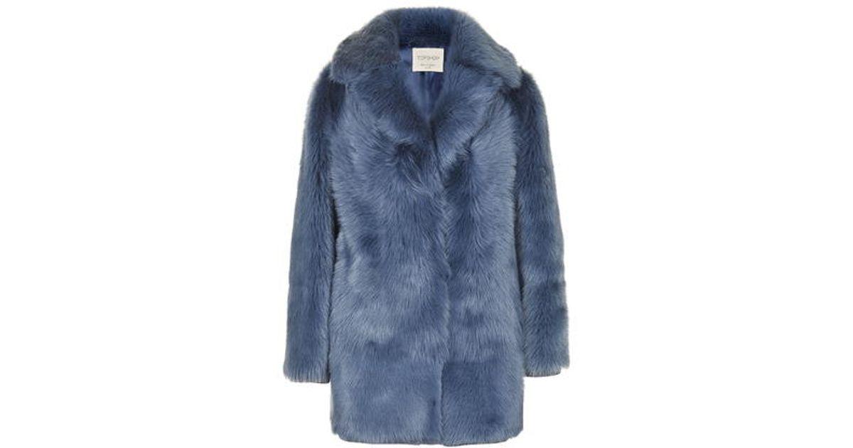 Topshop Premium Blue Sheepskin Coat in Blue | Lyst