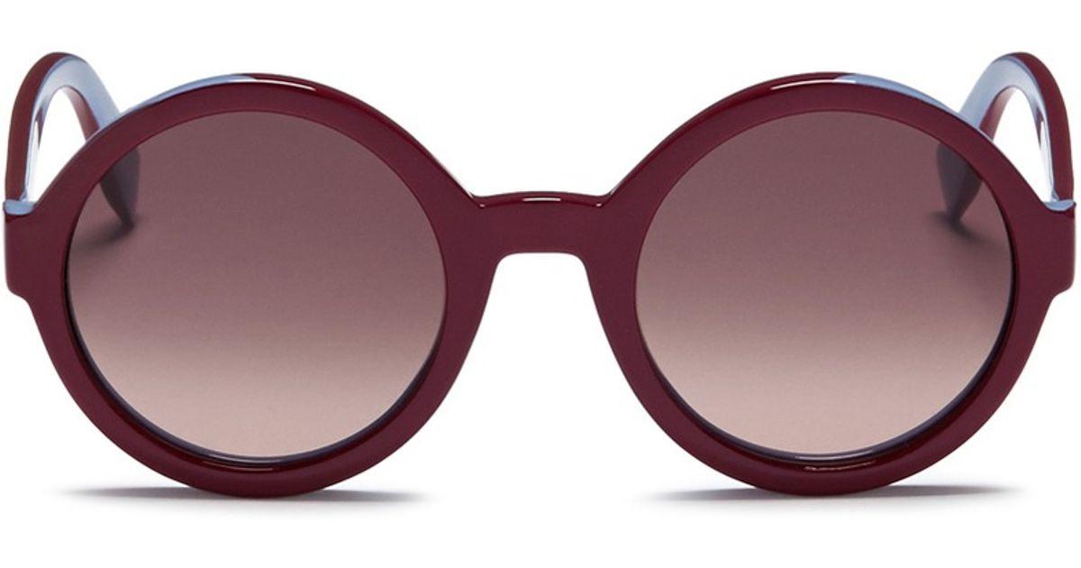 ca7a4ac6cb61 Lyst - Fendi Colourblock Round Acetate Sunglasses in Red