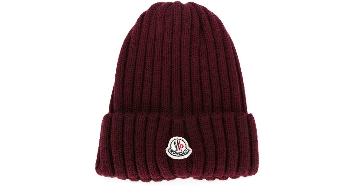 482200f78f8 Lyst - Moncler Ribbed Knit Beanie in Red
