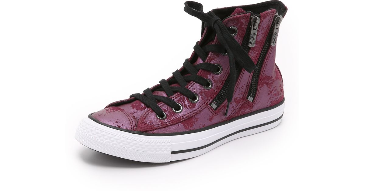 1750b6d71580 Lyst - Converse Chuck Taylor All Star Dual Zip High Top Sneakers - Deep  Bordeaux black in Purple