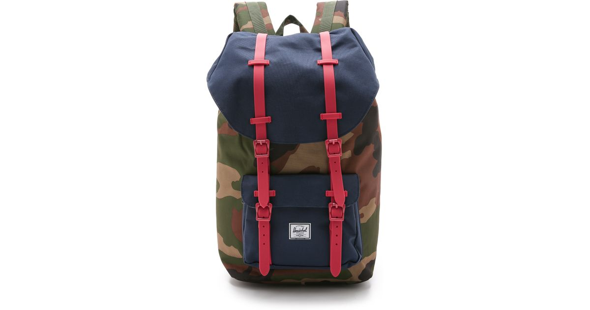 61673d04e3 Herschel Supply Co. Little America Backpack - Woodland Camo Navy Red in  Green - Lyst