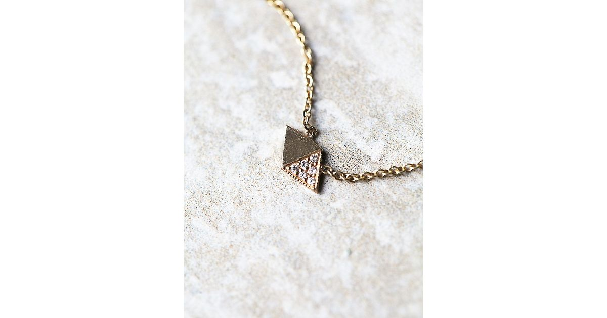 Free people Half Diamond Necklace in Pink Lyst