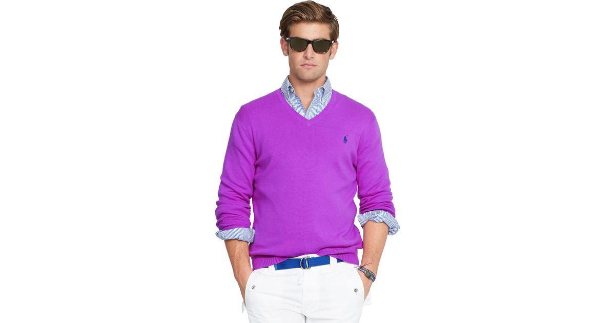 Ralph Lauren Men Mesh V neck Sweaters Blue