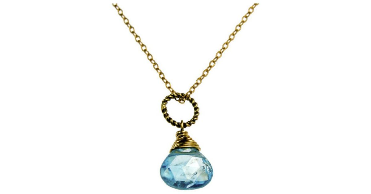 rafia december birthstone necklace in blue lyst