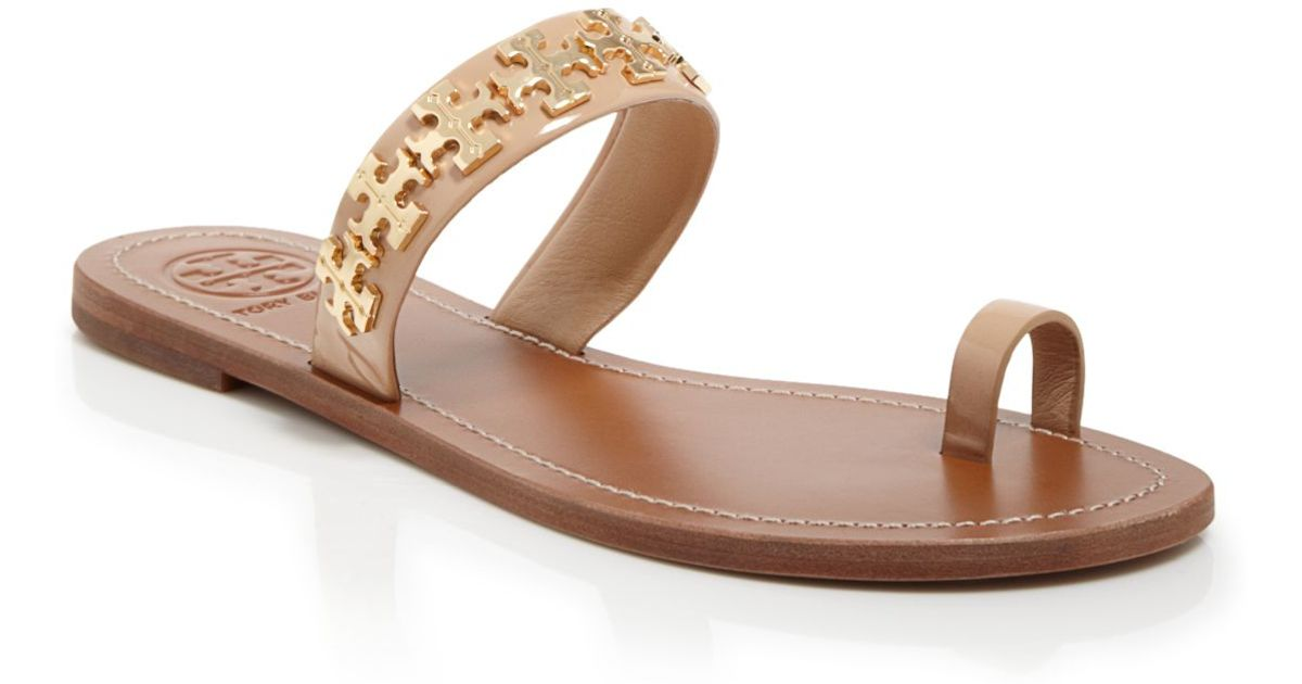 b95c7a07600 ... reduced tory burch logo toe ring flat sandals val in pink lyst d3262  df84f ...