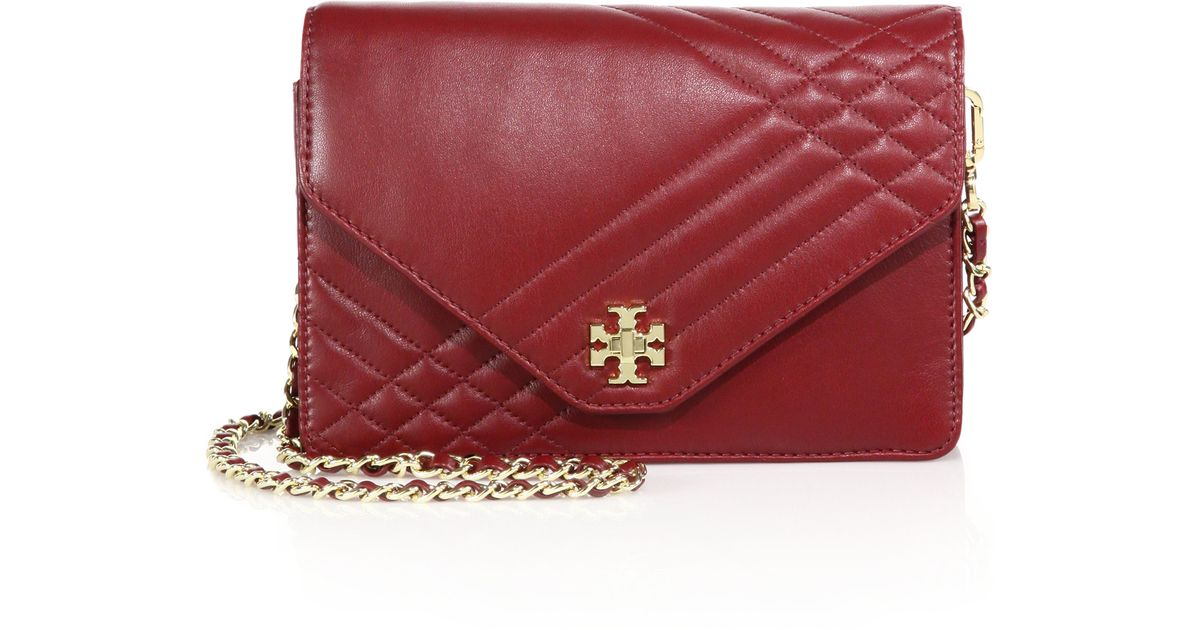 Tory burch Kira Quilted Leather Chain Shoulder Bag in Red | Lyst