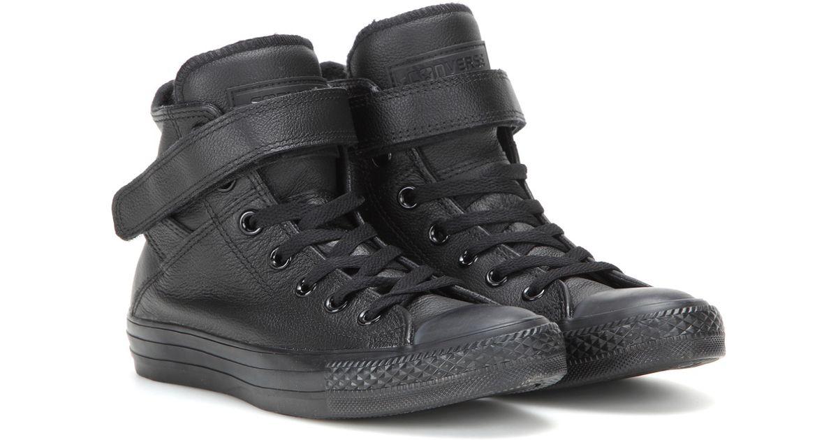 Lyst - Converse Chuck Taylor All Star Brea Leather High-top Sneakers in  Black e57e9bf43