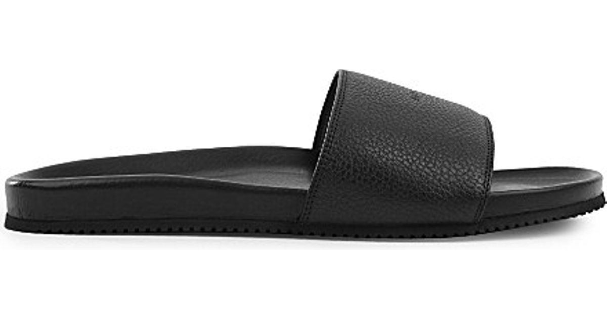 2a3042cac4c Lyst - Buscemi Logo-embossed Leather Pool Slides in Black for Men