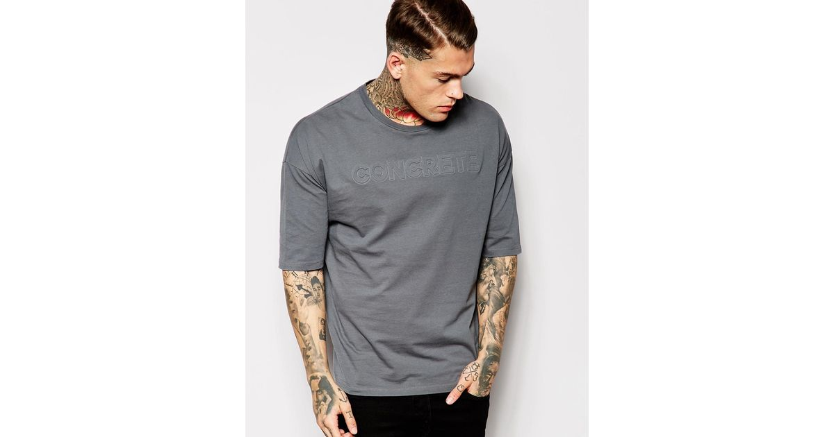 0fe7c14b ASOS T-shirt With Embossed Concrete Print In Oversized Fit in Blue for Men  - Lyst