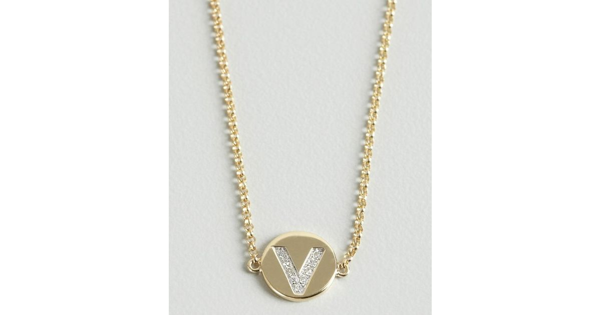 Lyst kc designs gold and diamond v initial pendant bracelet in lyst kc designs gold and diamond v initial pendant bracelet in metallic mozeypictures Images