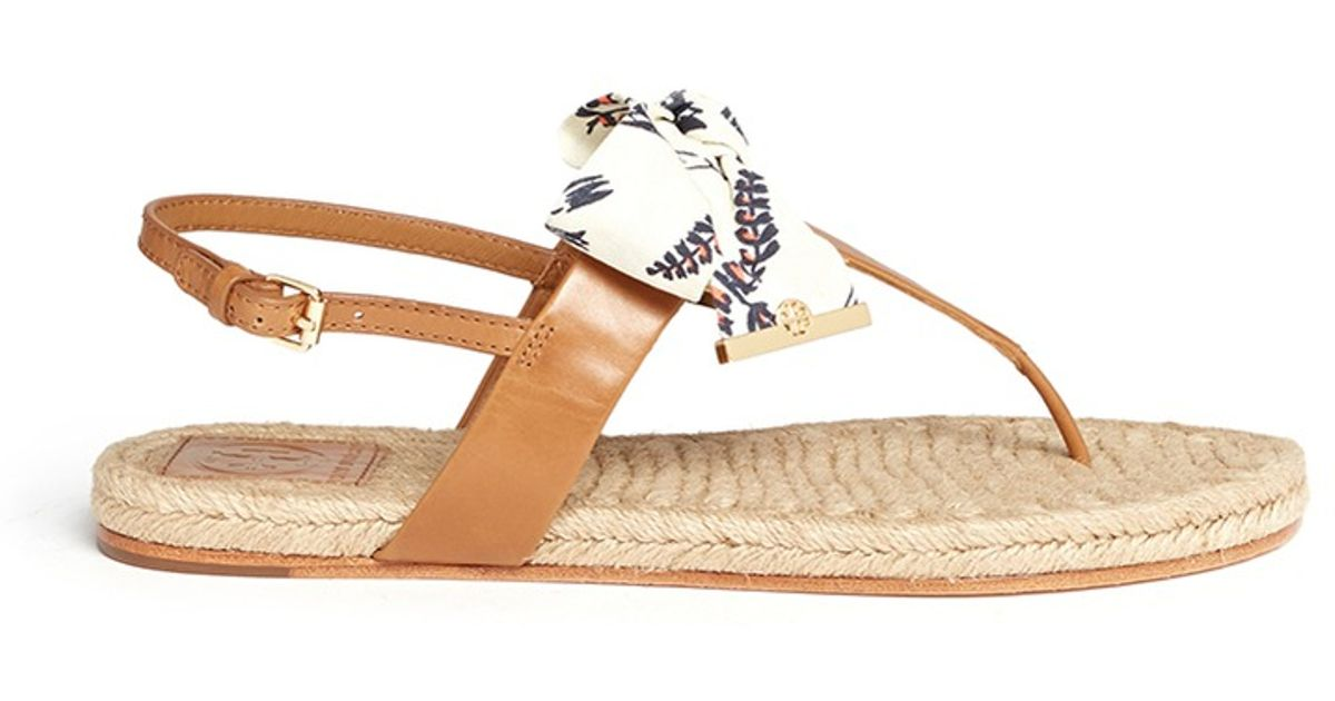 7b5a5cb446c Tory Burch  penny  Floral Print Canvas Bow Espadrille Sandals in Brown -  Lyst