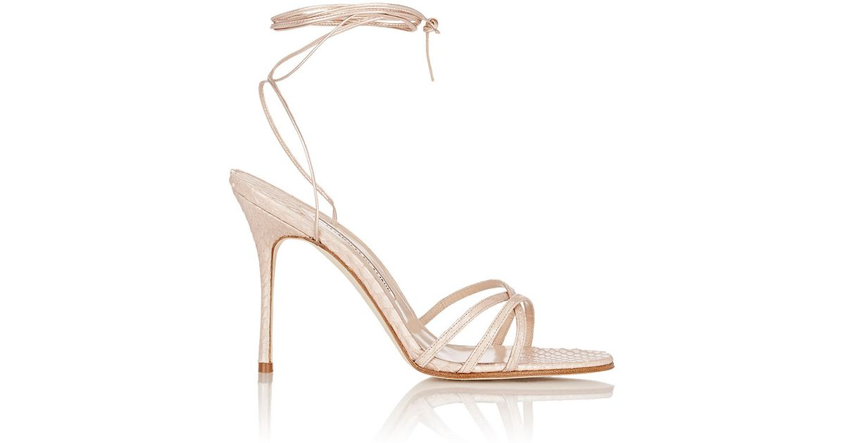 clearance 2014 manchester great sale cheap online Manolo Blahnik Snakeskin Lace-Up Sandals cheap sale big discount free shipping clearance store 7J7TDvf