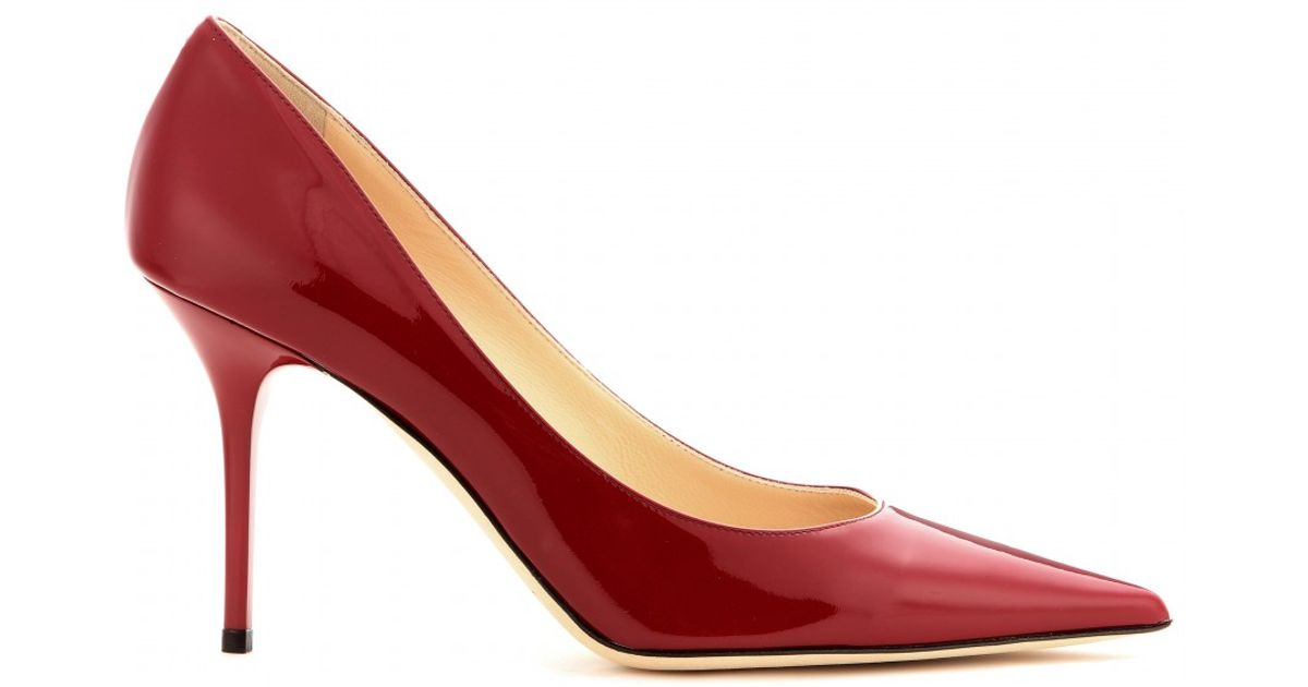 d098b2ef2ce Lyst - Jimmy Choo Agnes Patent-Leather Pumps in Red