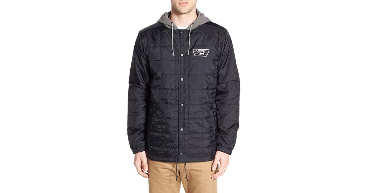Vans 'santiago Ii' Quilted Hooded Coach Jacket in Black for Men | Lyst : coach quilted coat - Adamdwight.com