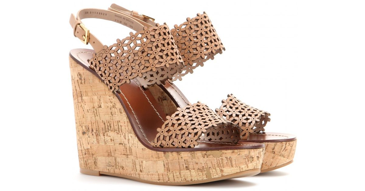 Lyst Tory Burch Floral Leather Wedges In Natural