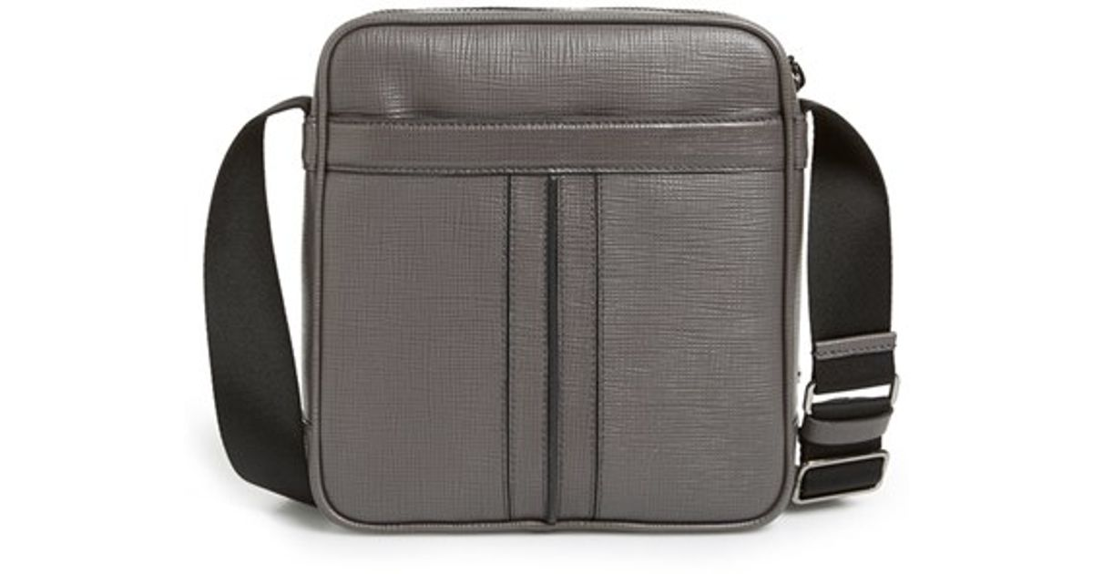 Tod's Double Stripe Leather Messenger Bag in Gray for Men ...