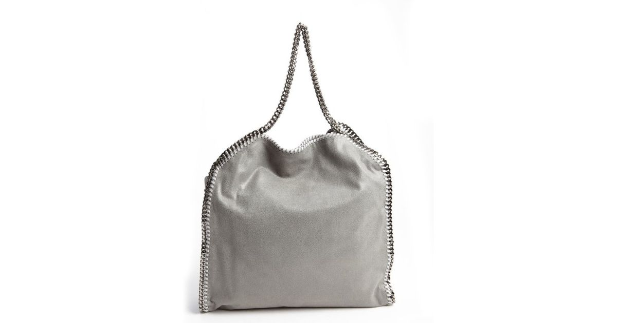 Stella Mccartney Light Grey Faux Leather Braided Chain Oversized Hobo Bag  in Gray - Lyst 9c12952ae4a1f
