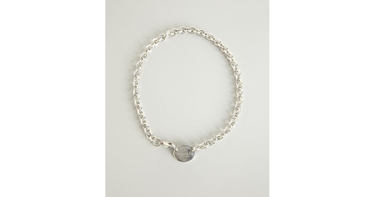 ea9366bbf3186 Tiffany & Co. Preowned Silver Return To Tiffany Oval Tag Necklace in  Metallic - Lyst