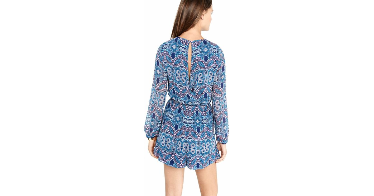 ade1d0a1c4b Lyst - Express Paisley Print Keyhole Long Sleeve Romper in Blue