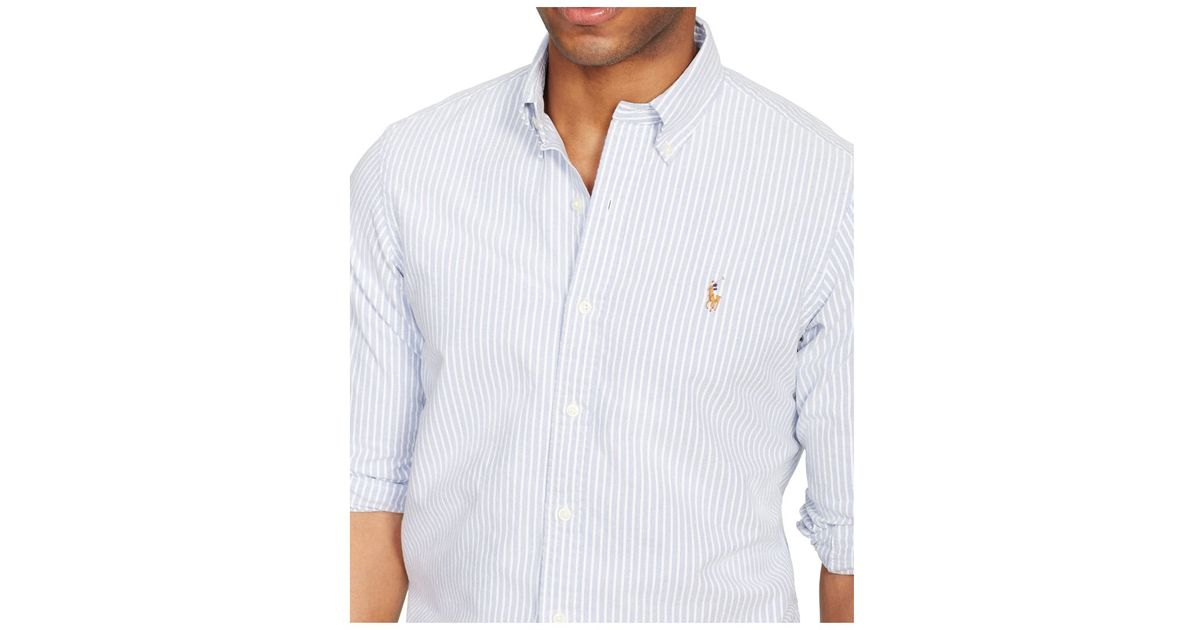 7a66b3fb Polo Ralph Lauren Slim-fit Striped Stretch-oxford Shirt in Blue for Men -  Lyst