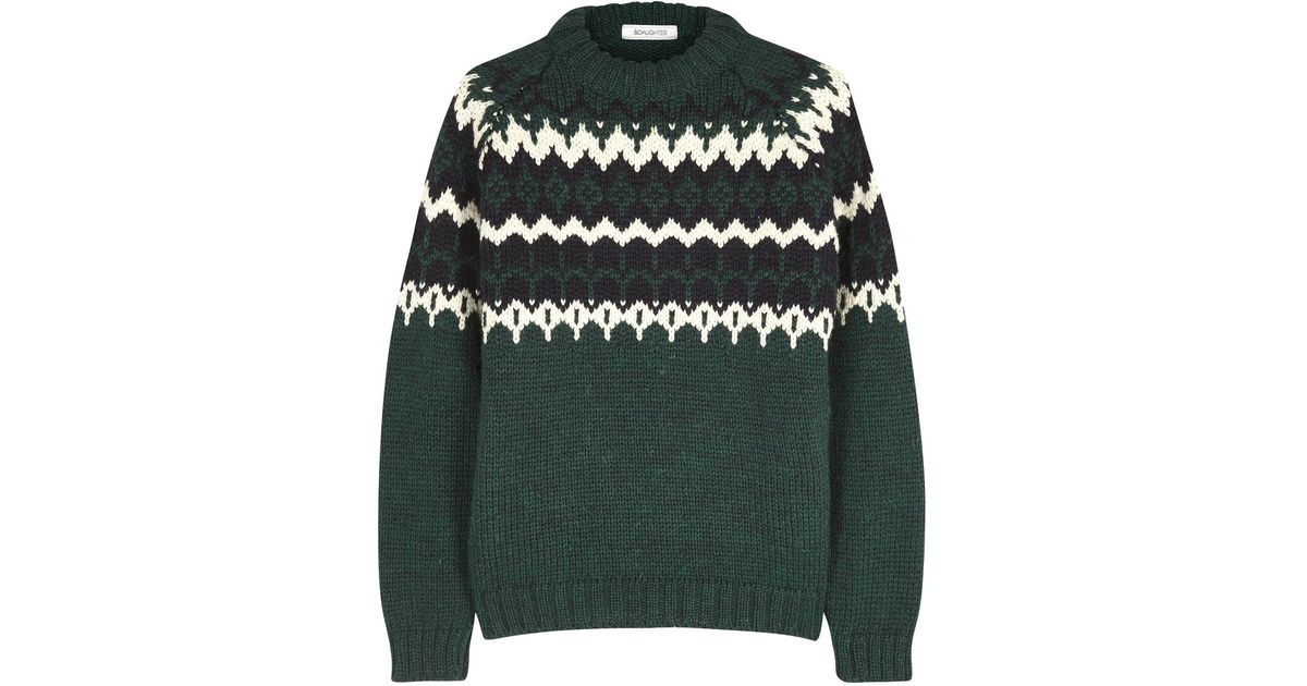&daughter Green Fair Isle Wool Jumper in Green | Lyst