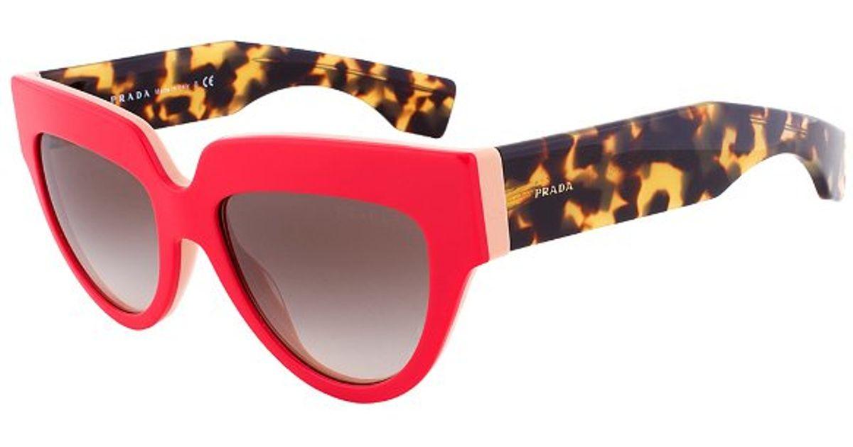 54d0c482c307 ... buy lyst prada spr 29p sl2 0a7 cateye sunglasses red coral havana frame  grey gradient lens