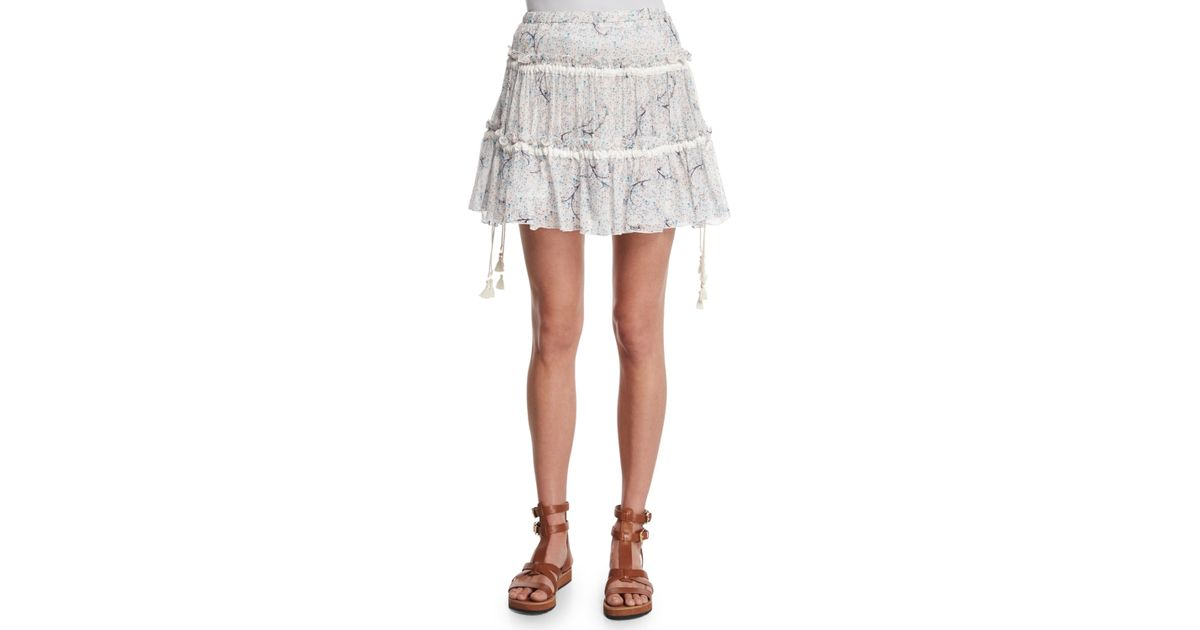 see by chlo 233 tiered floral a line skirt in white lyst