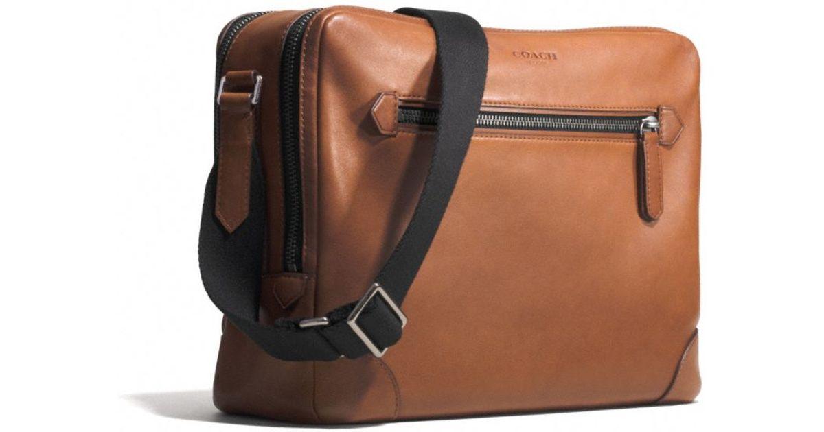 bebfb8094c ... switzerland lyst coach bleecker flight bag in leather in brown for men  c6162 2fe5b