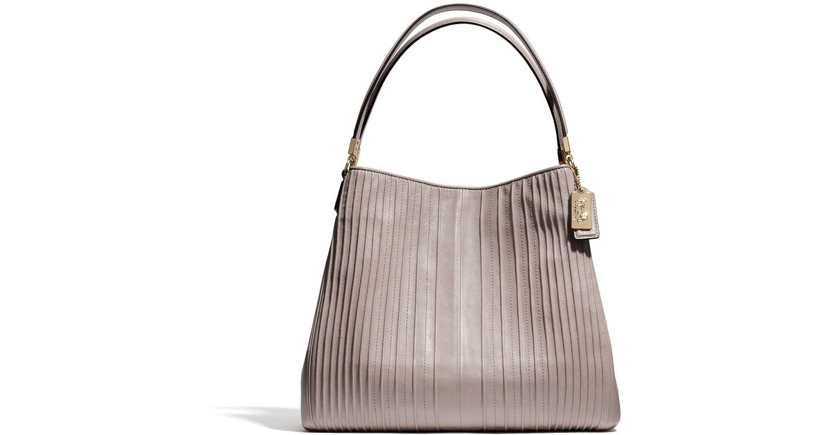 75026624cb Lyst - COACH Madison Pintuck Small Phoebe in Gray