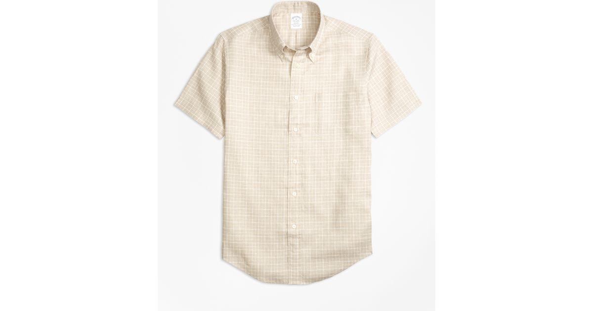 Brooks brothers madison fit check irish linen short sleeve for Irish linen dress shirts
