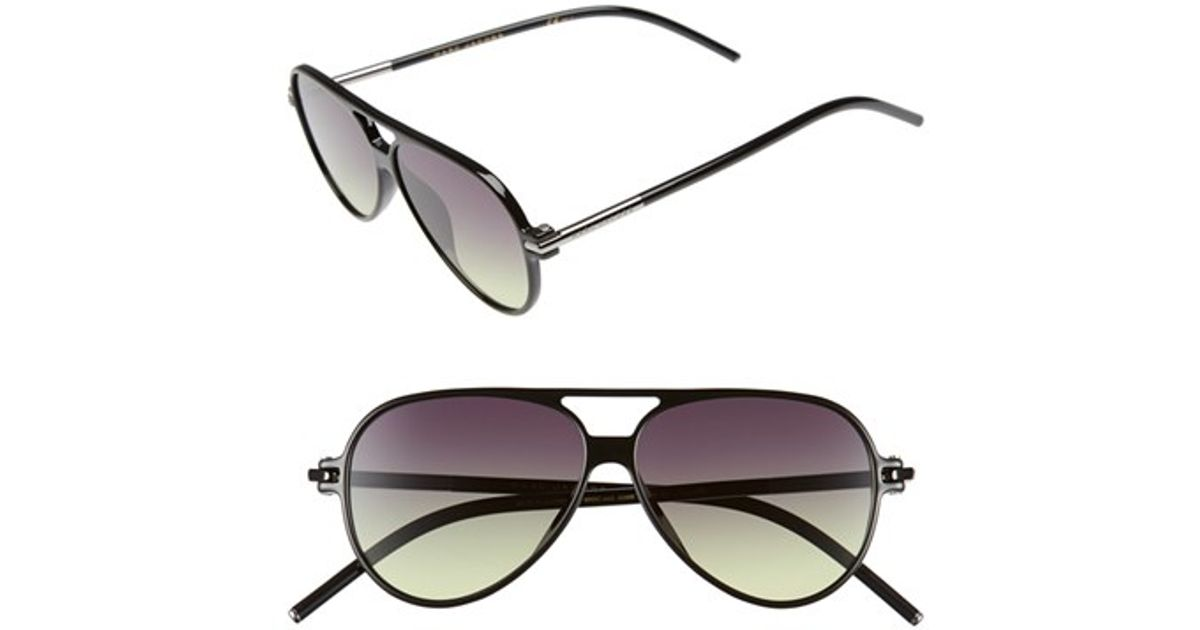 c5007d0b34999 Lyst - Marc Jacobs 56mm Aviator Sunglasses - Shiny Black in Brown