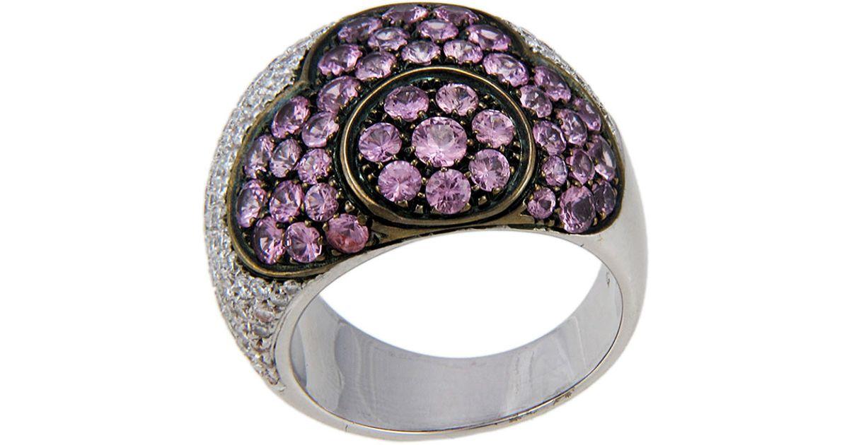 Lyst pasquale bruni 18k diamond pink tourmaline flower ring in pink mightylinksfo