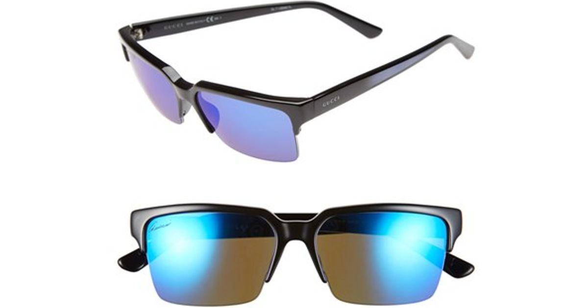 6f674f28381 Lyst - Gucci 54mm Rimless Mirrored Sunglasses in Black for Men