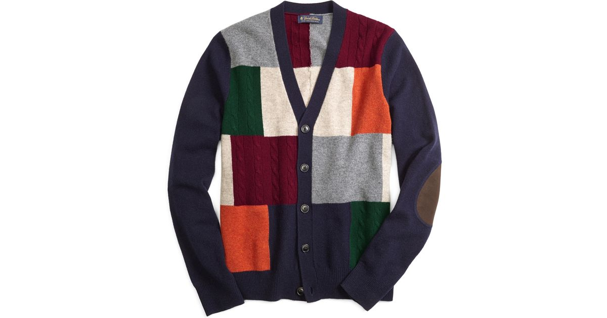 Lyst - Brooks brothers Patchwork Cardigan in Blue for Men