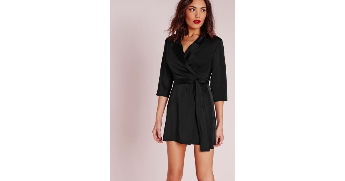 74e61be21a9eb Missguided Silky Wrap Blazer Dress Black in Black - Lyst