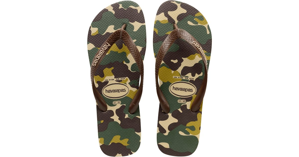 4bf23bc4dc6 Havaianas Camouflage Patterned Flip Flops in Green for Men - Lyst