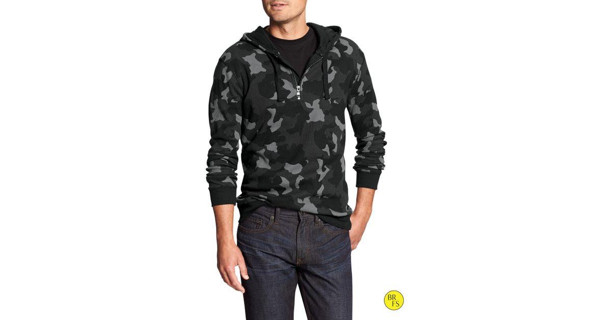 b1775f98 Lyst - Banana Republic Factory Half-Zip Waffle Knit Hoodie in Gray for Men