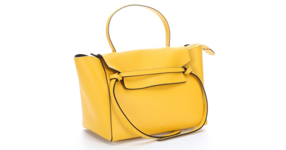 C¨¦line Yellow Leather Belt Tote Bag in Yellow | Lyst