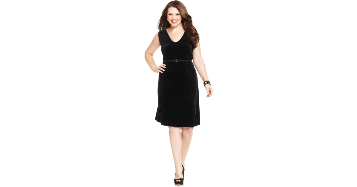 Lyst - Jones New York Collection Plus Size Velvet Belted A-Line ...